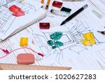 designer makes a sketch of the... | Shutterstock . vector #1020627283