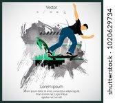 skateboarder jump  sport... | Shutterstock .eps vector #1020629734