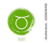 green circle taurus zodiac sign ... | Shutterstock .eps vector #1020636430