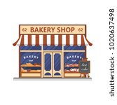 bakery facade. showcase with... | Shutterstock .eps vector #1020637498