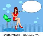 sexy girl cook. pose on a chair.... | Shutterstock .eps vector #1020639793