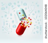red and transparent capsule... | Shutterstock .eps vector #102064048