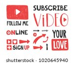 you tube video channel player.... | Shutterstock .eps vector #1020645940