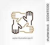 handshake in circle icon vector | Shutterstock .eps vector #1020655330