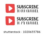 you tube subscribe with play... | Shutterstock .eps vector #1020655786
