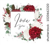 vector floral greeting card... | Shutterstock .eps vector #1020662320