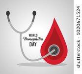 world hemophilia day blood drop ... | Shutterstock .eps vector #1020671524