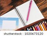pencil case full of color... | Shutterstock . vector #1020673120