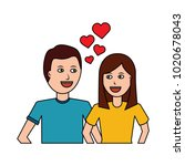 happy couple embraced together... | Shutterstock .eps vector #1020678043