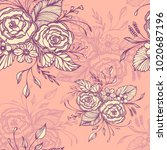 seamless pattern with flowers... | Shutterstock .eps vector #1020687196