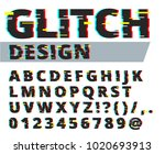 trendy style distorted glitch... | Shutterstock .eps vector #1020693913