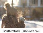 young woman in beige fur coat ... | Shutterstock . vector #1020696763