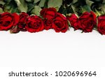 close up of flatlay with red... | Shutterstock . vector #1020696964