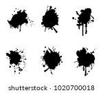 paint black splatters  set. ... | Shutterstock .eps vector #1020700018