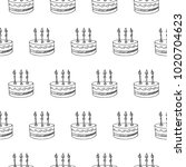 birthday cake with candle... | Shutterstock .eps vector #1020704623