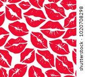 red kiss smooch on white... | Shutterstock .eps vector #1020708298