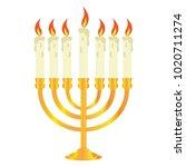isolated golden candlestick | Shutterstock .eps vector #1020711274