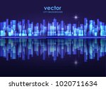 vector night city skyline with... | Shutterstock .eps vector #1020711634