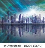 night city skyline with... | Shutterstock .eps vector #1020711640