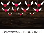 red hearts with wings hanging...   Shutterstock .eps vector #1020721618