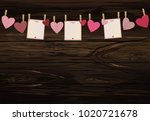 red hearts and three blanks...   Shutterstock .eps vector #1020721678