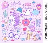 illustration set of feminine... | Shutterstock . vector #1020723088