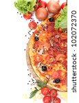 delicious pizza  vegetables and ... | Shutterstock . vector #102072370