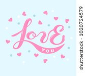 love you text isolated on blue... | Shutterstock .eps vector #1020724579