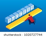 businessman measuring the... | Shutterstock .eps vector #1020727744