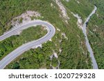 aerial view on road serpentine... | Shutterstock . vector #1020729328