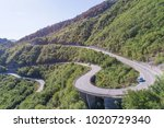 aerial view on road serpentine... | Shutterstock . vector #1020729340
