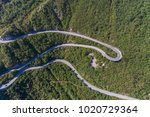 aerial view on road serpentine... | Shutterstock . vector #1020729364