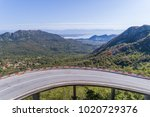 aerial view on road serpentine...   Shutterstock . vector #1020729376