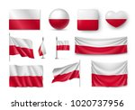 set poland flags  banners ... | Shutterstock .eps vector #1020737956