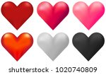 hearts in six different colors... | Shutterstock .eps vector #1020740809