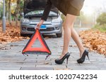 pretty slender woman sets an... | Shutterstock . vector #1020742234