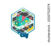 big city isometric real estate...   Shutterstock .eps vector #1020752074