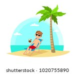 man in a chaise longue on the... | Shutterstock .eps vector #1020755890