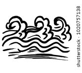 ink wavy texture. dry brush sea ... | Shutterstock .eps vector #1020757138