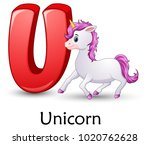 letter u is for unicorn cartoon ... | Shutterstock .eps vector #1020762628