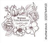 vintage vector floral frame in... | Shutterstock .eps vector #1020764410