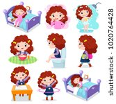 illustration of daily routine... | Shutterstock .eps vector #1020764428