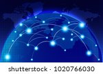 world map with coherent nodes... | Shutterstock .eps vector #1020766030