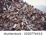 pile of recycled scrap metal on ... | Shutterstock . vector #1020776413