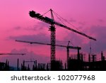 silhouette crane building and... | Shutterstock . vector #102077968