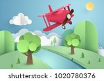 paper art of pink plane flying... | Shutterstock .eps vector #1020780376