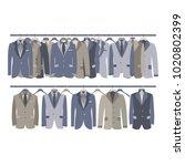 men suit closet hanging on rack ...   Shutterstock .eps vector #1020802399