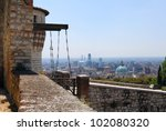 Brescia castle with a view of city - stock photo