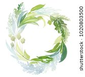 watercolor wreath with green... | Shutterstock . vector #1020803500