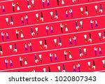 men giving flower to girl... | Shutterstock .eps vector #1020807343